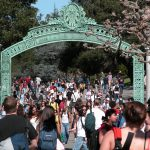 Students pass beneath Sather Gate and onto Sproul Plaza at UC Berkeley