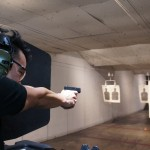 Since Orange County relaxed its laws governing concealed weapons, thousands of people have applied for what's called a conceal carry weapons permit, also called a CCW. Here a candidate for such a permit practices his marksmanship on an Orange County shooting range. (Photo: Saul Gonzalez)