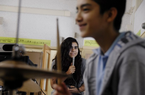 Angelin Aguirre is a seventh grader at Hollenbeck Middle School in Boyle Heights. Hollenbeck is 99 percent Latino - a segregated school. (Jolie Myers/Press Play)