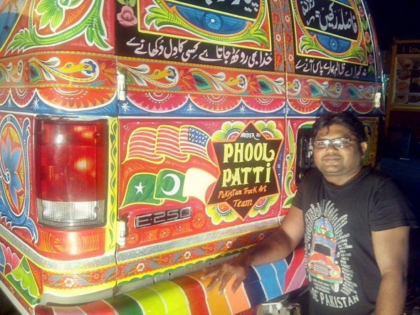 Truck artist Haider Ali and his finished product