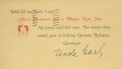 Christmas card from Carl Laemmle, December 18, 1938. From the collection of Rosemary Laemmle Hilb