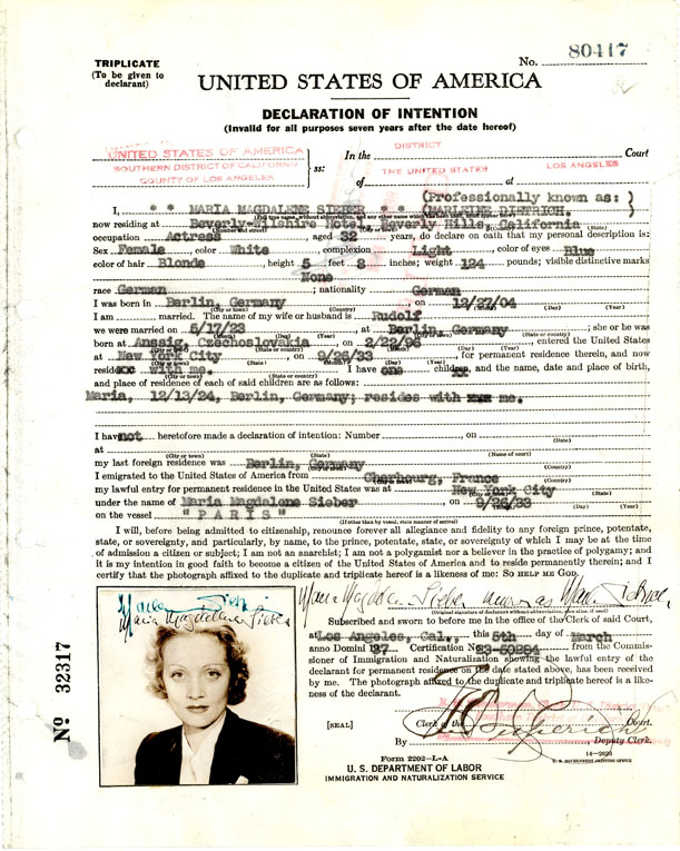 United States of America Declaration of Intention Paper for Marlene Dietrich (Maria Magdelene Sieber), 1937. From the Records of the U.S. District Court for the Central District of California (Los Angeles) at the National Archives of Riverside.