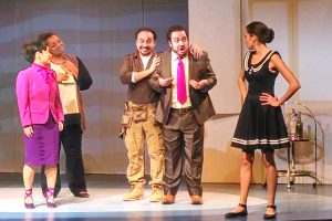 Miki Yamashita as Soon-Yi Nam, Craig Colclough as Paul Conti, Jose Adan Perez as Figaro, E. Scott Levin as Babayan and Maria Elena Altany as Susana. Photo: Jennifer Babcock