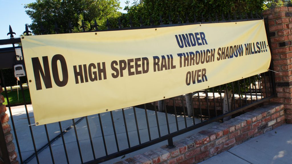 Concerned about the affect of high speed rail's construction on their community, residents of Shadow Hills have started organizing to oppose the train. (Photo Saul Gonzalez)