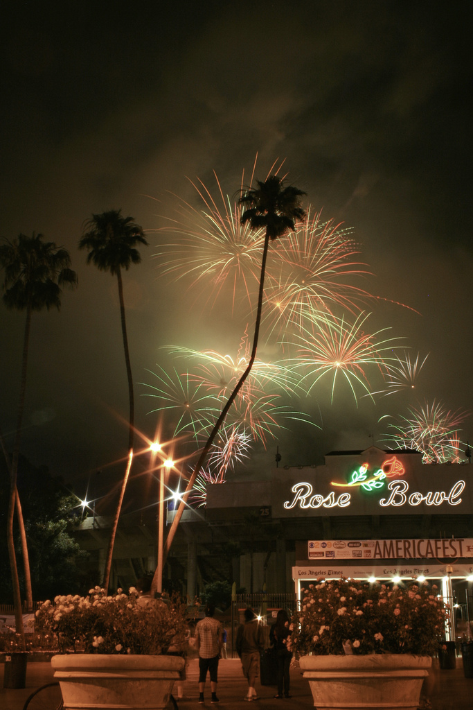 Fireworks light up the sky over the Rose Bowl in Pasadena during a July 4 celebration (Photo by Karol Franks, obtained via Creative Commons license).