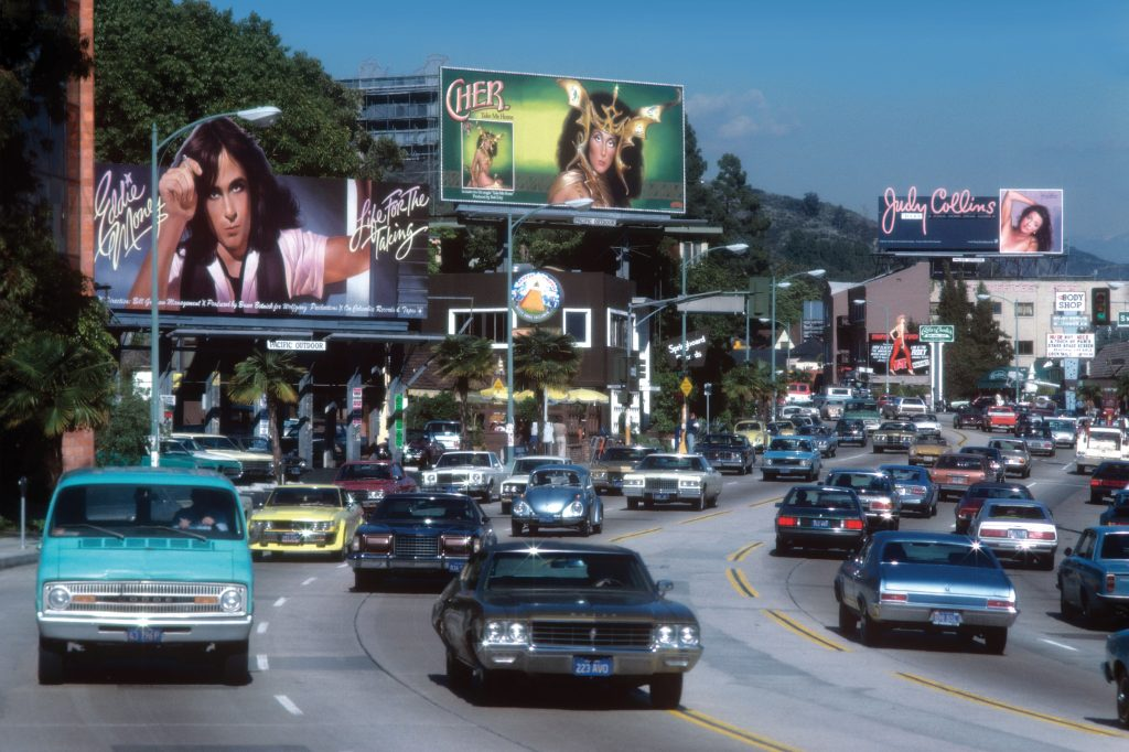 The Sunset Strip in Los Angeles, California circa 1979