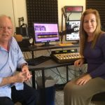 "KCRW Santa Barbara host Lisa Osborn in studio with popular local columnist, Richard Mineards, who pens the weekly ""Montecito Miscellany"" for the Montecito Journal."