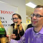 Daily Breeze reporters Rebecca Kimitch, left, and Rob Kuznia celebrate in the newsroom after winning a Pulitzer Prize for stories on corruption in the Centinela Valley Union High School District. (Robert Casillas / Daily Breeze)