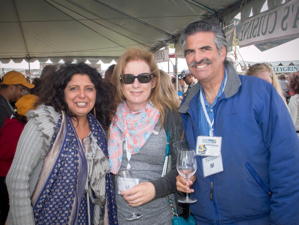 Auryvedic Indian cuisine chef Nimita, KCRW's Lisa Osborn & KEYT-TV's John Palmentari (Photo: Ken Pfeiffer).