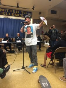 A local resident expressed anger over the death of Glenn, and stood up for the rights of the homeless. (Photo: Evan George)