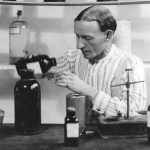A 1922 photo of Charles Hatfield making his chemical formula for rain. (Courtesy of San Diego Public Library)