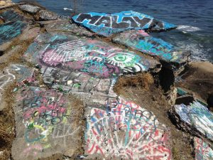 Graffiti offers a splash of color on this stretch of Southern California coastline.