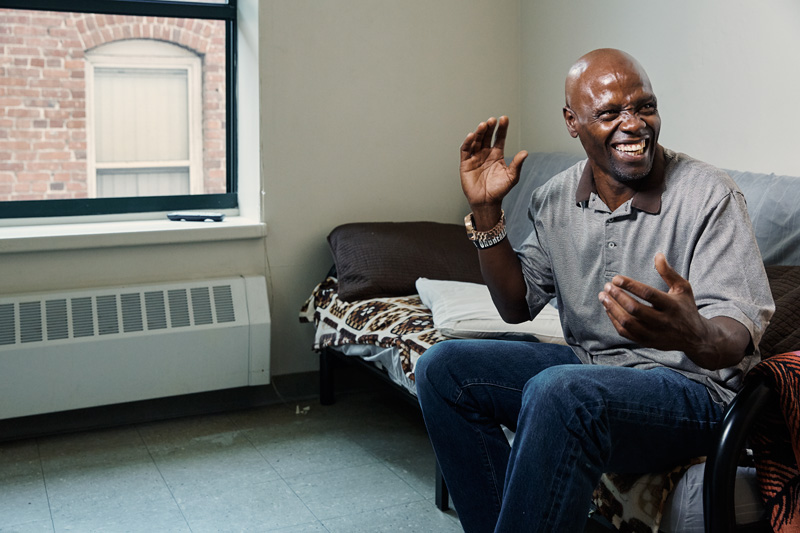 Amos Sandifer in his new apartment. Photo: Aaron Fallon