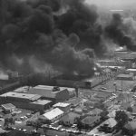 Several buildings on fire at the same time, during the rioting in the Watts area. Photo courtesy: Los Angeles Public Library