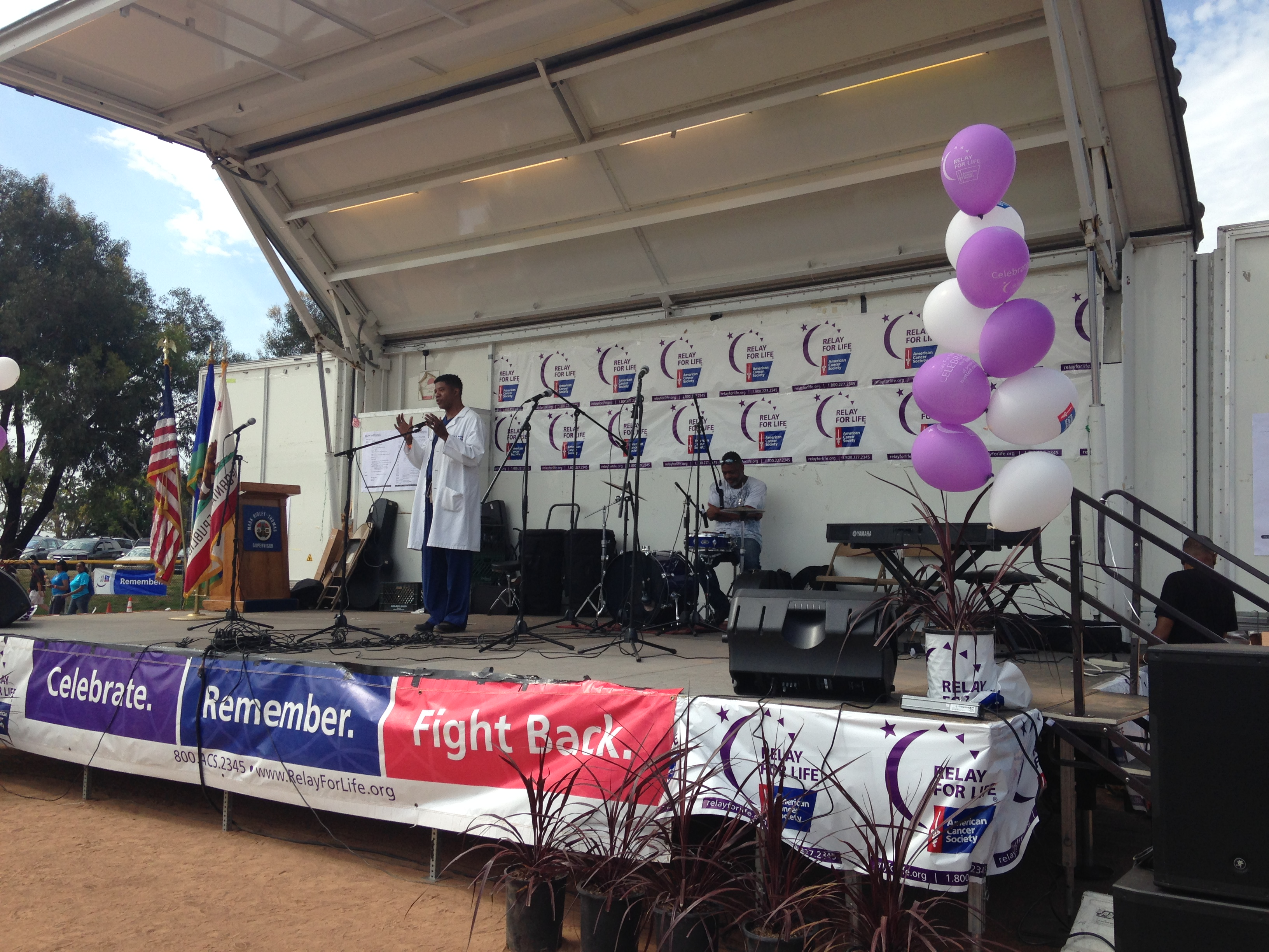 "Dr. Zuri Murrell addresses the audience at the ""Relay for Life"" event in Baldwin Hills on June 27, 2015. Photo by Avishay Artsy."