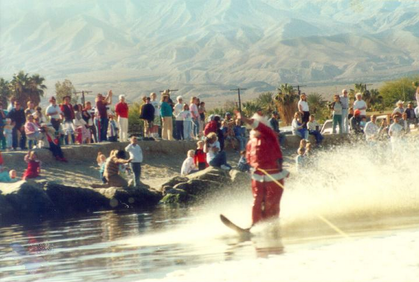 "Floyd Hollinger as the Salton Sea Santa. ""Santa Ski-In"" started by Helen Burns, property owner at Salton Sea Beach, about 1960. (Photo courtesy of the Salton Sea History Museum)"