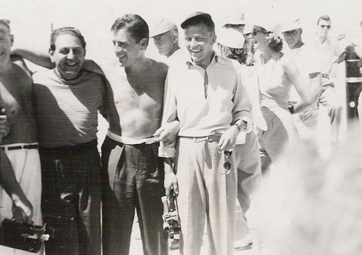 Guy Lombardo at Date Palm Beach with pals Jerry Lewis and Frank Sinatra Guy Lombardo held many speed records on water, some set here at Eilers Date Palm Beach. (Photo courtesy of the Salton Sea History Museum)
