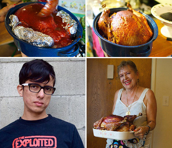 Clockwise from upper left: Regular basting with the secret chile sauce helps keep the turkey moist and seal in the flavor; The end result: A juicy bird, with crisp, golden brown skin; Maria Rosa Cabral — Javier's mom; Javier.