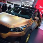 Kia's concept minivan features camouflage and a work space in the back