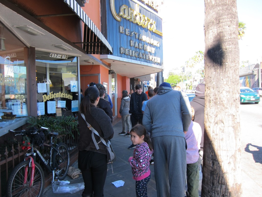Hungry patrons lined up outside Canter's Deli on Christmas Day.