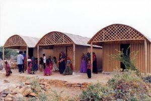 Paper log houses by Shigeru Ban