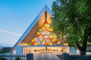 cardboard cathedral in New Zealand