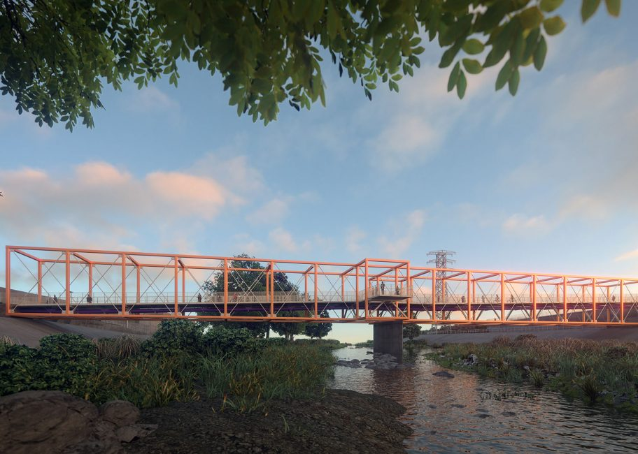 Orange bridge over trickling water