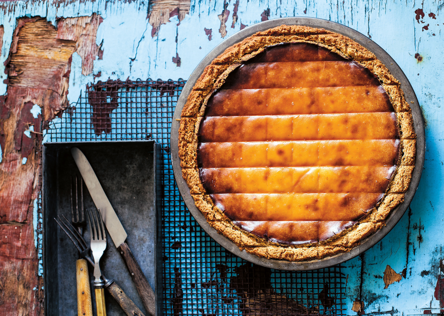 A picture-perfect baked ricotta, orange blossom and date pie