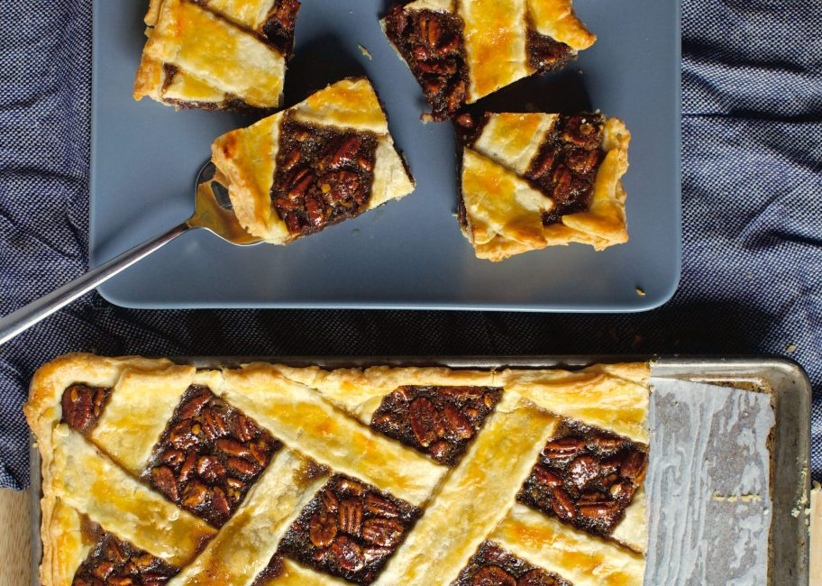 What a great pie-dea: chocolate pecan slab pie