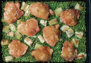 Try Nigella Lawson's easily elegant chicken and pea traybake